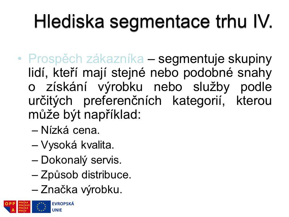 Hlediska segmentace trhu IV.