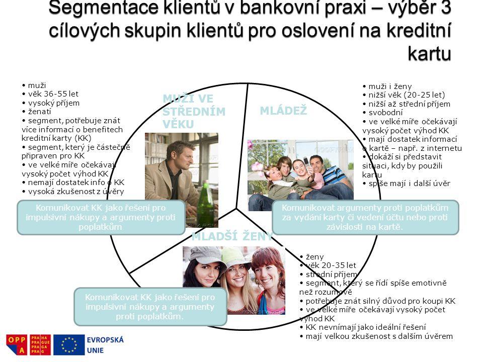 Segmentace klientů v bankovní praxi – výběr 3 cílových skupin klientů pro oslovení na kreditní kartu