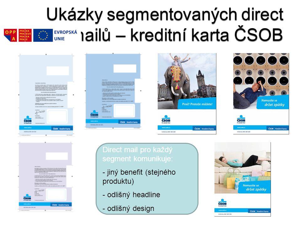 Ukázky segmentovaných direct mailů – kreditní karta ČSOB