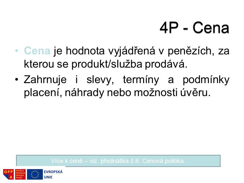 Více k ceně – viz. přednáška č.6: Cenová politika.