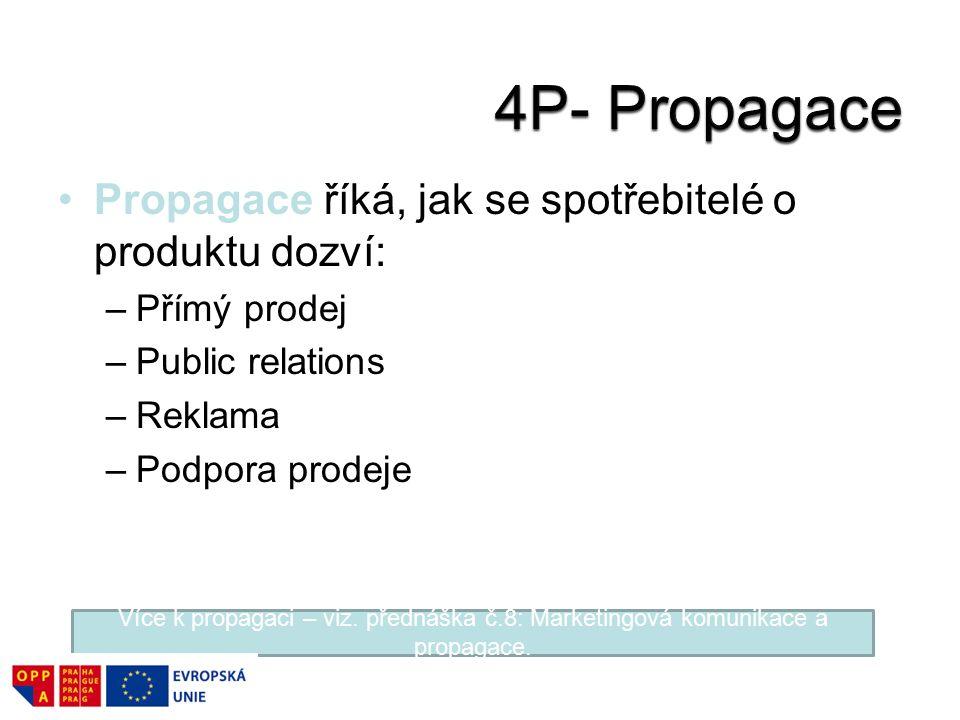 4P- Propagace Propagace říká, jak se spotřebitelé o produktu dozví: