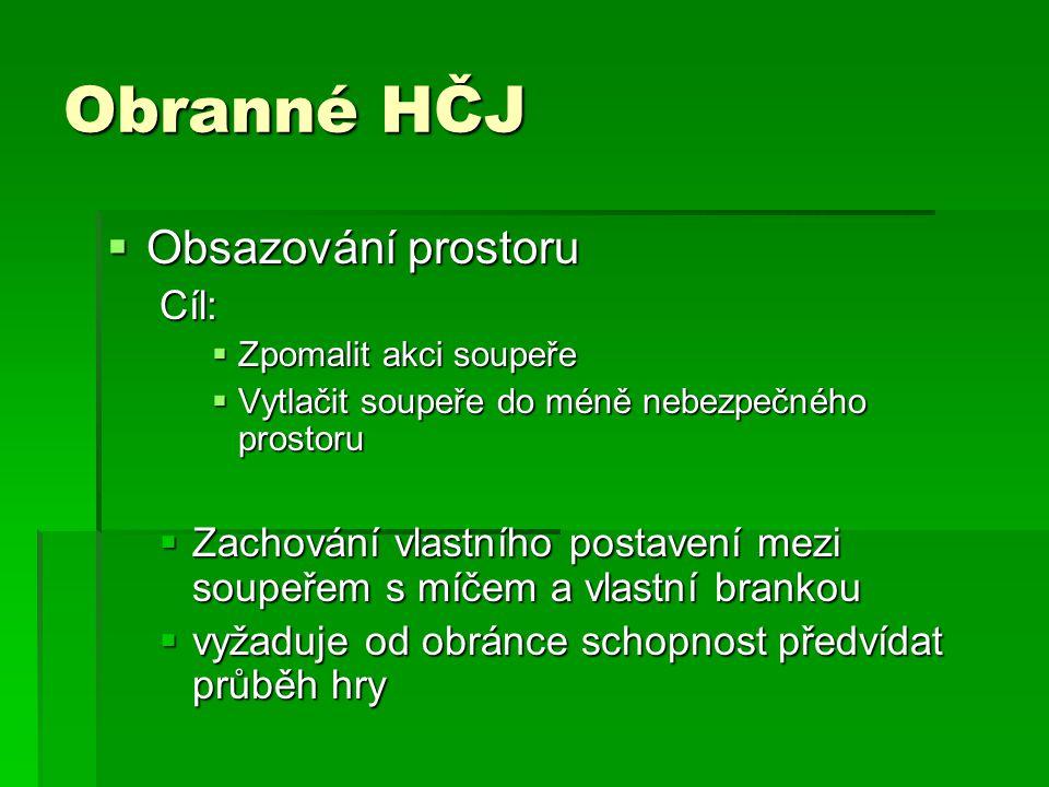 Obranné HČJ Obsazování prostoru Cíl: