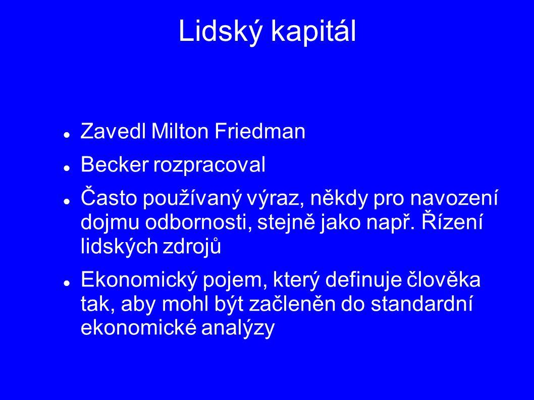 Lidský kapitál Zavedl Milton Friedman Becker rozpracoval