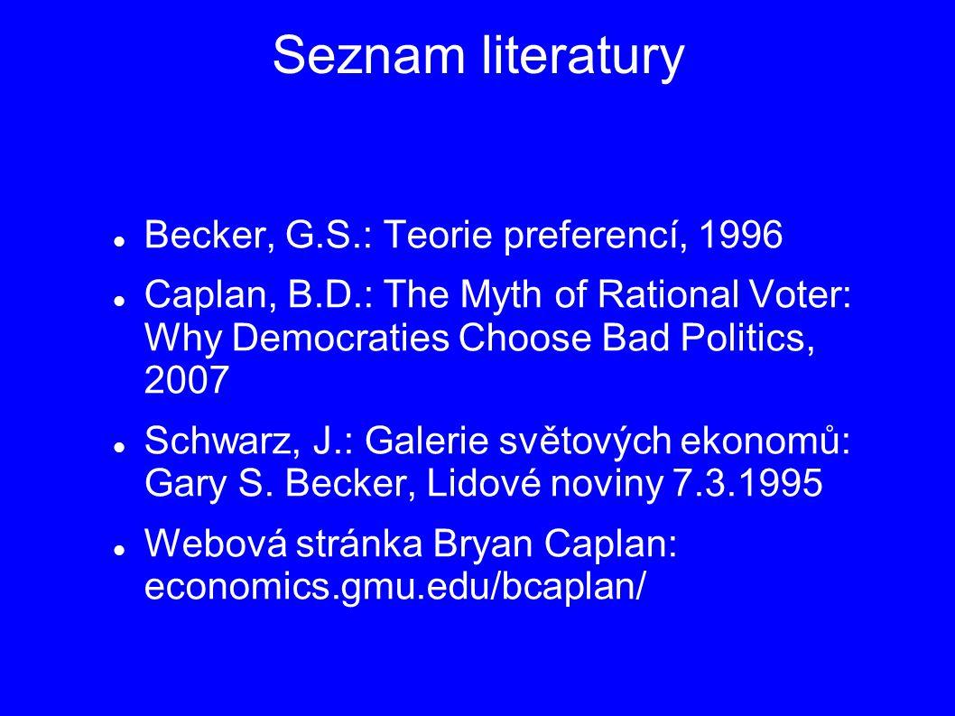 Seznam literatury Becker, G.S.: Teorie preferencí, 1996