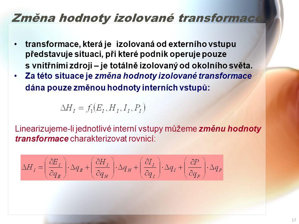 Změna hodnoty izolované transformace