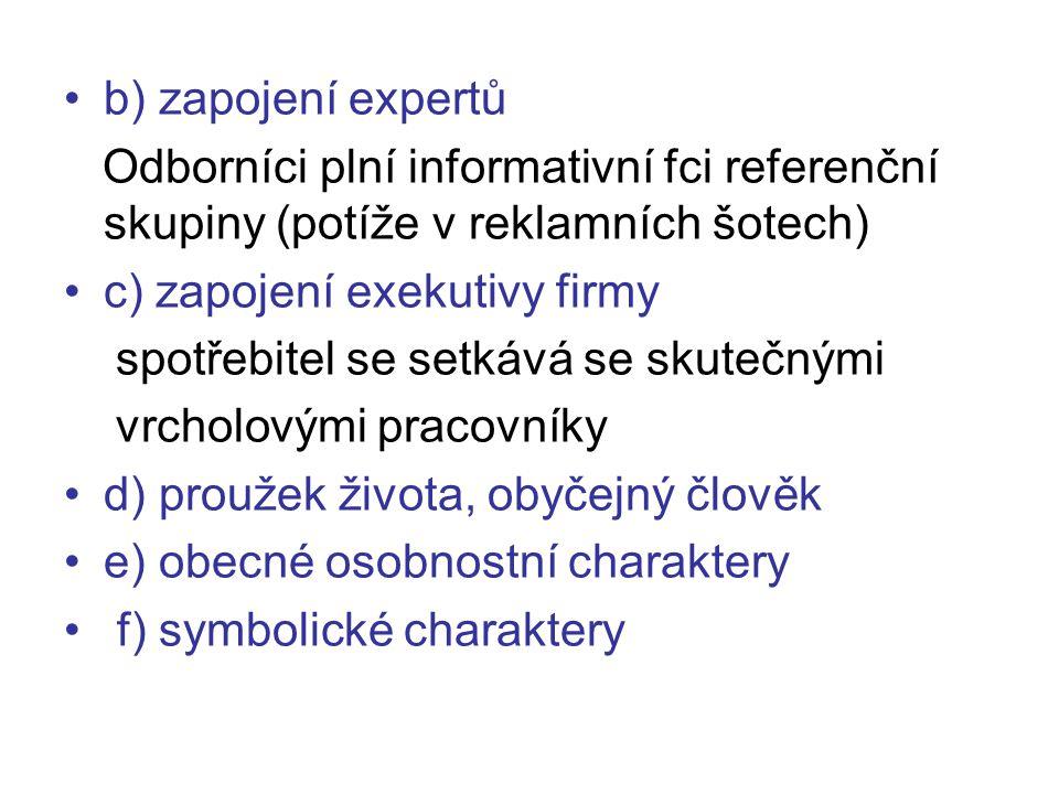 b) zapojení expertů Odborníci plní informativní fci referenční skupiny (potíže v reklamních šotech)