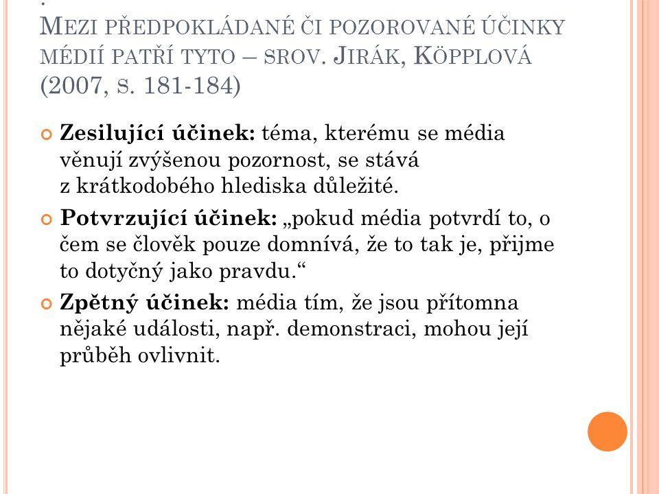 : Mezi předpokládané či pozorované účinky médií patří tyto – srov