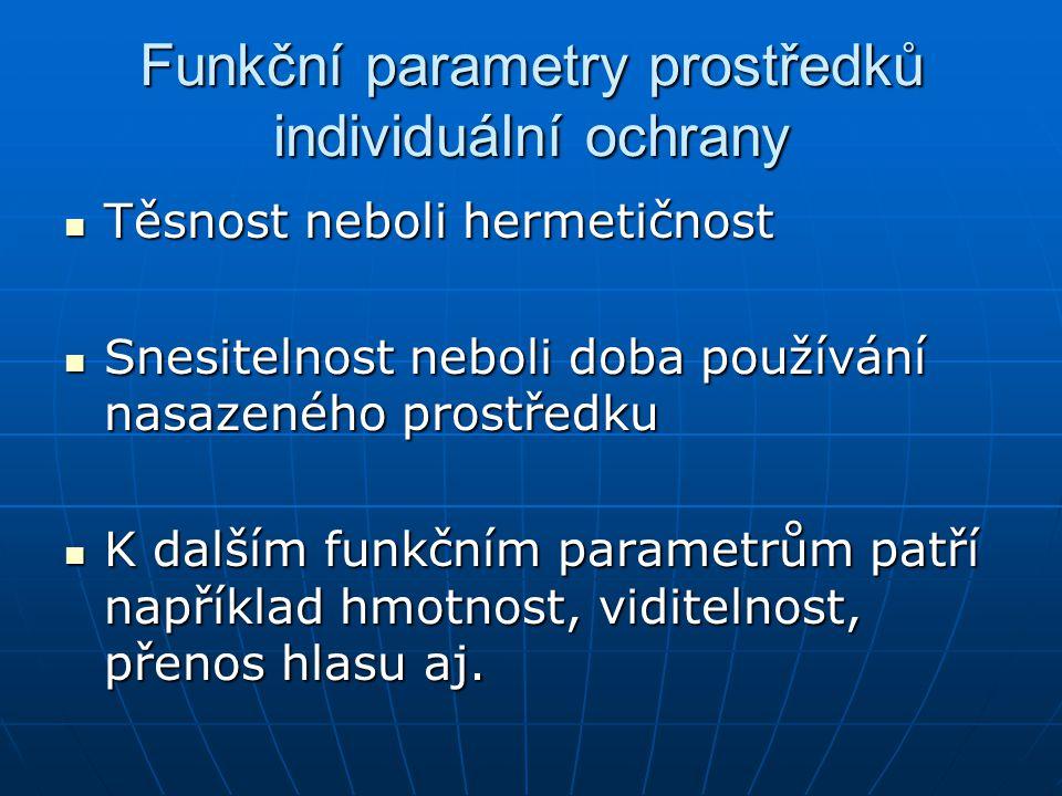 Funkční parametry prostředků individuální ochrany