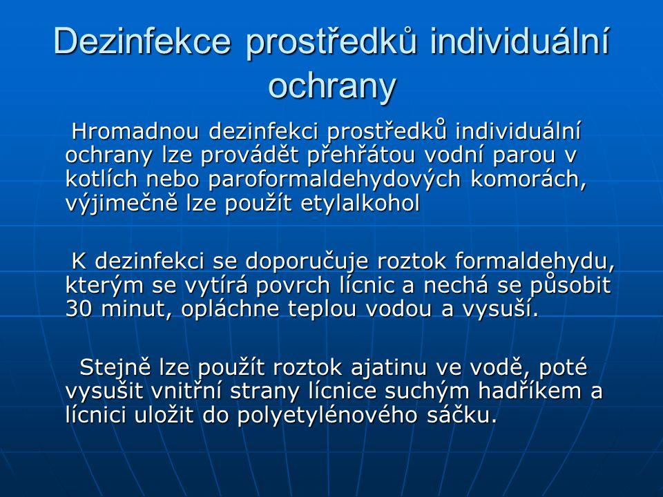 Dezinfekce prostředků individuální ochrany