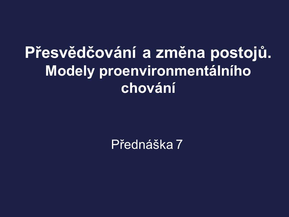Přesvědčování a změna postojů. Modely proenvironmentálního chování