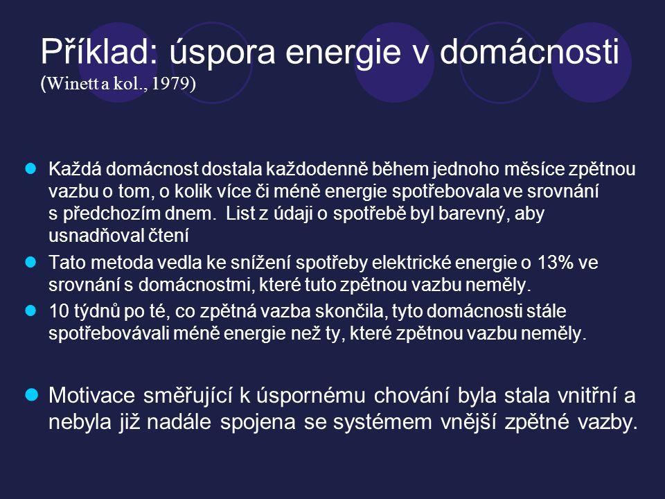 Příklad: úspora energie v domácnosti (Winett a kol., 1979)