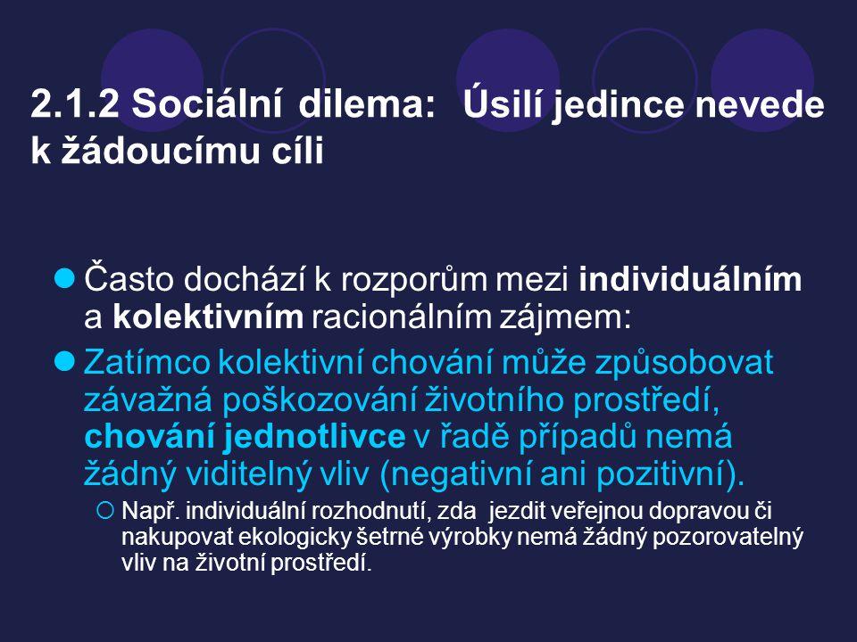 2.1.2 Sociální dilema: Úsilí jedince nevede k žádoucímu cíli
