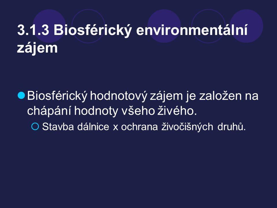 3.1.3 Biosférický environmentální zájem