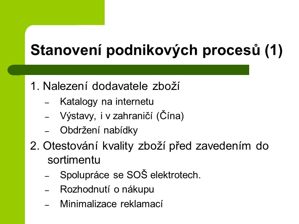 Stanovení podnikových procesů (1)