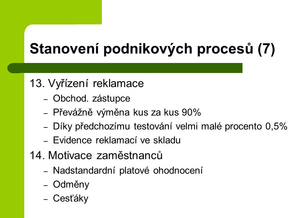 Stanovení podnikových procesů (7)