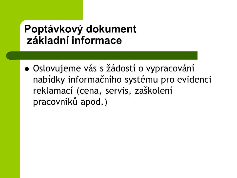 Poptávkový dokument základní informace
