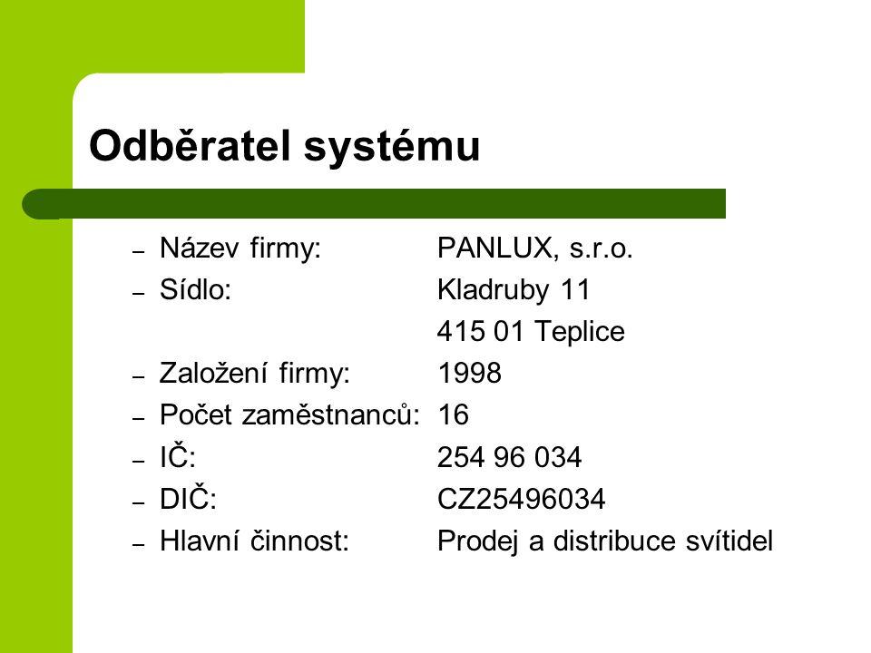 Odběratel systému Název firmy: PANLUX, s.r.o. Sídlo: Kladruby 11