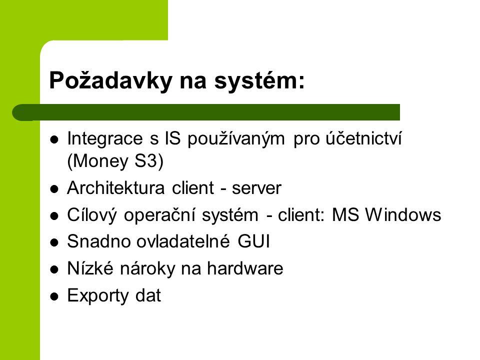 Požadavky na systém: Integrace s IS používaným pro účetnictví (Money S3) Architektura client - server.