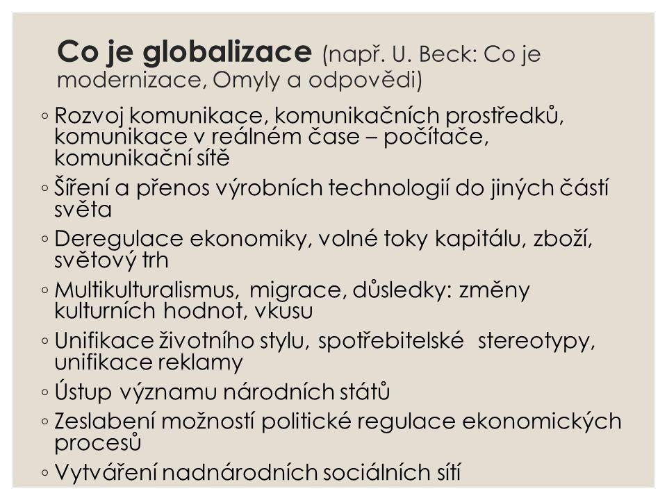 Co je globalizace (např. U. Beck: Co je modernizace, Omyly a odpovědi)