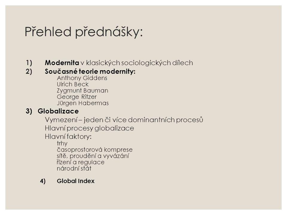 Přehled přednášky: Modernita v klasických sociologických dílech