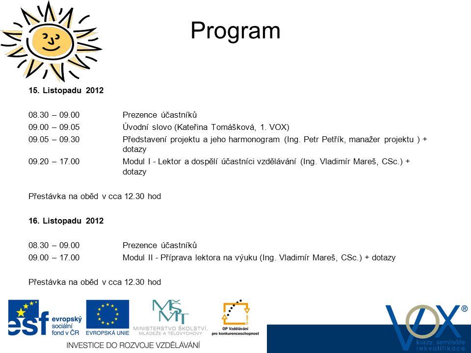 Program www.vox.cz www.vox.cz