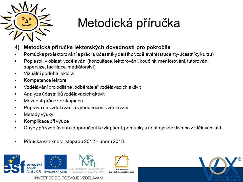 Metodická příručka 4) Metodická příručka lektorských dovedností pro pokročilé.