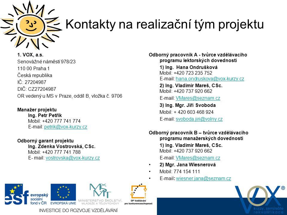 Kontakty na realizační tým projektu
