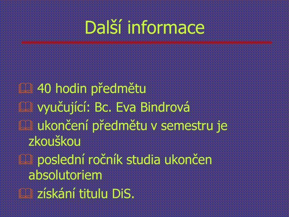Další informace 40 hodin předmětu vyučující: Bc. Eva Bindrová