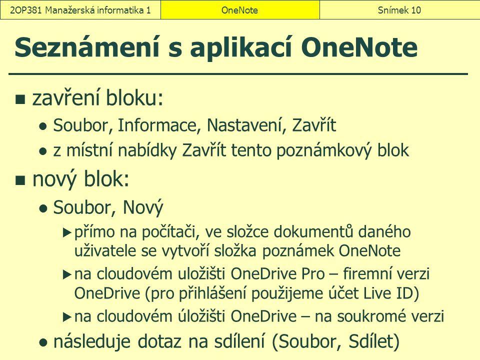 Seznámení s aplikací OneNote