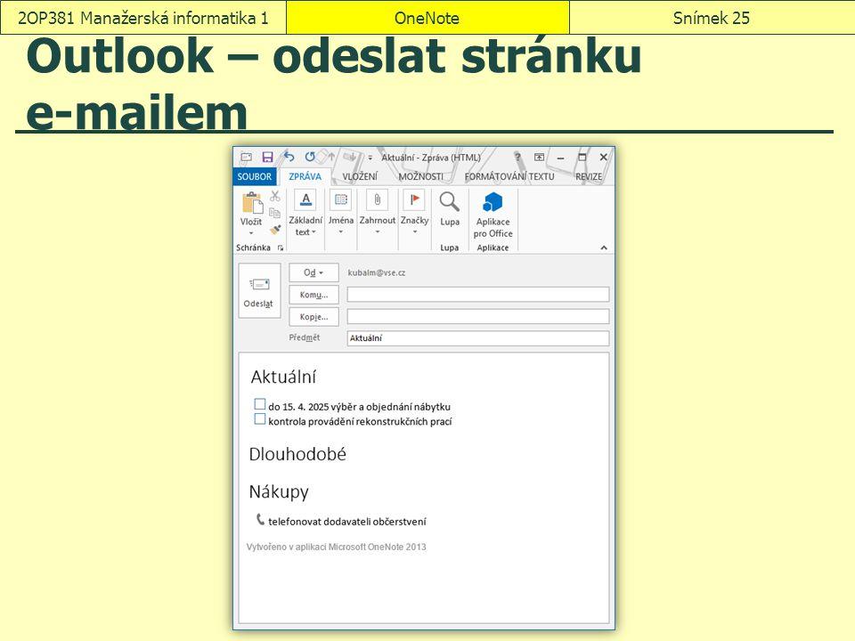 Outlook – odeslat stránku e-mailem
