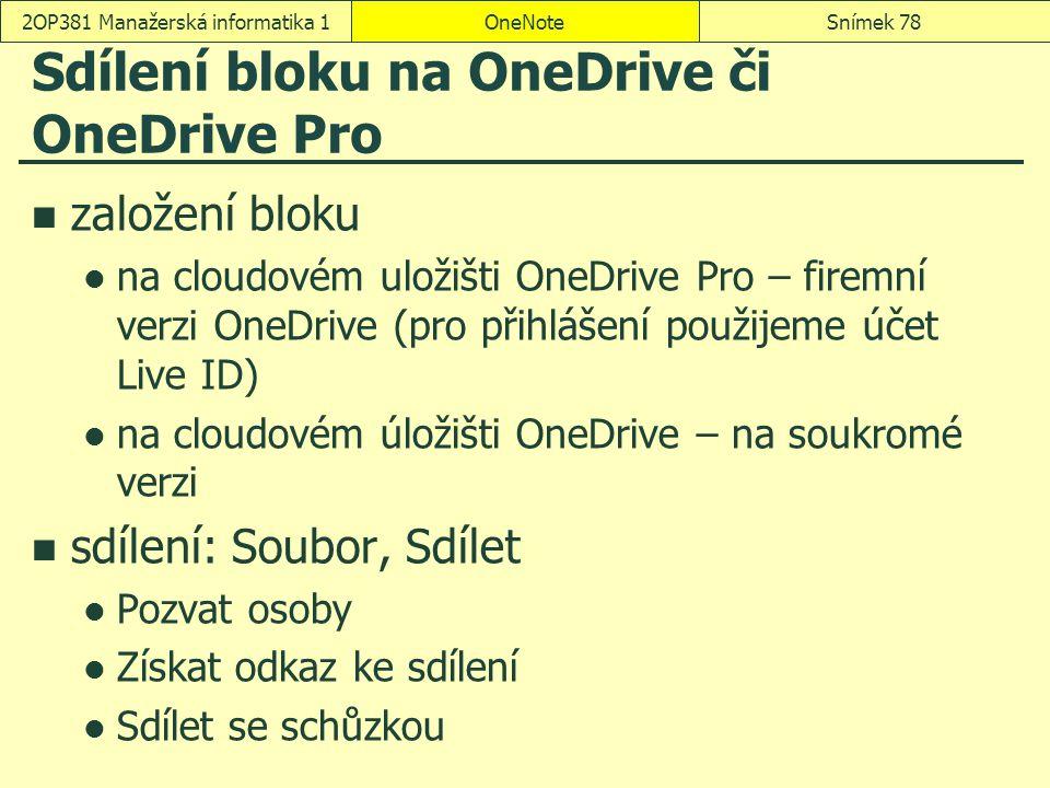 Sdílení bloku na OneDrive či OneDrive Pro