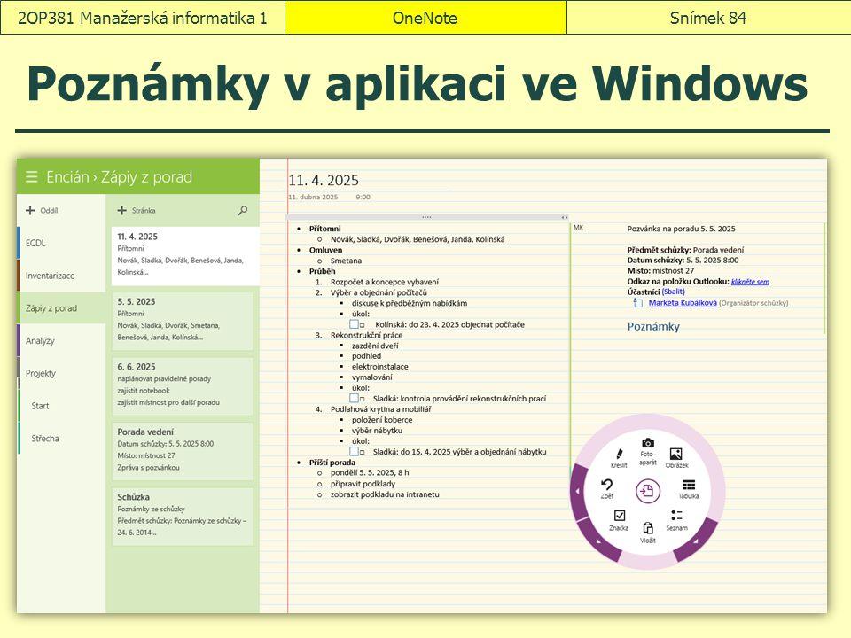 Poznámky v aplikaci ve Windows