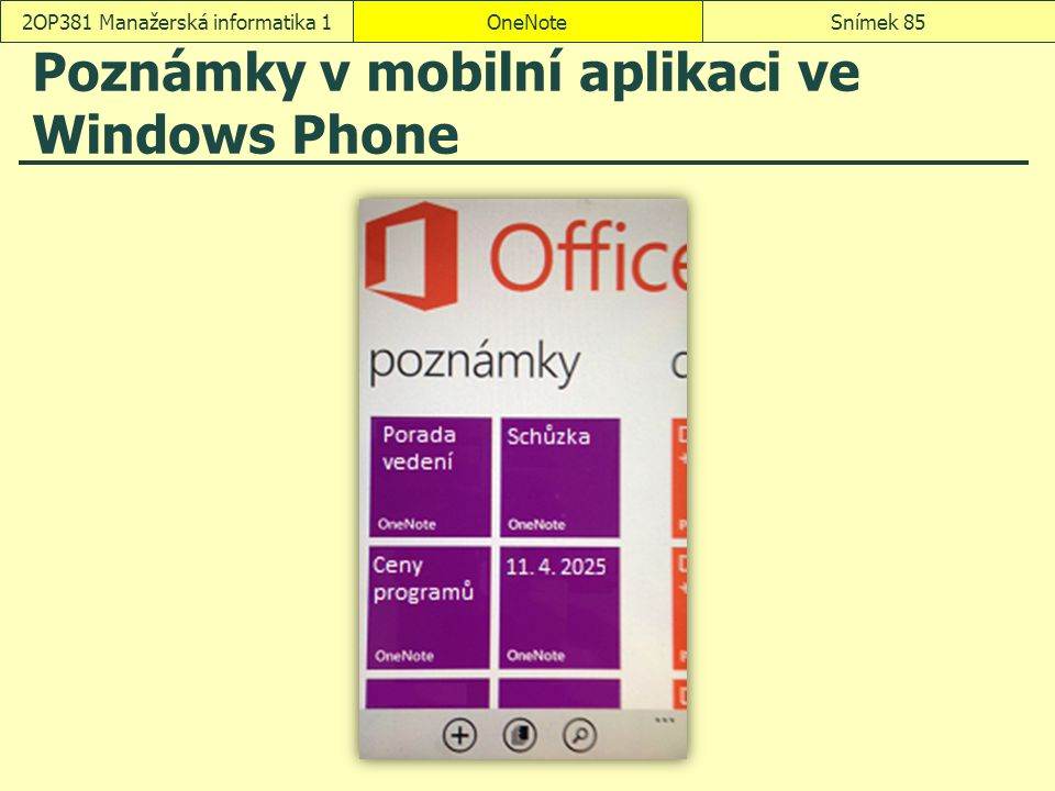 Poznámky v mobilní aplikaci ve Windows Phone