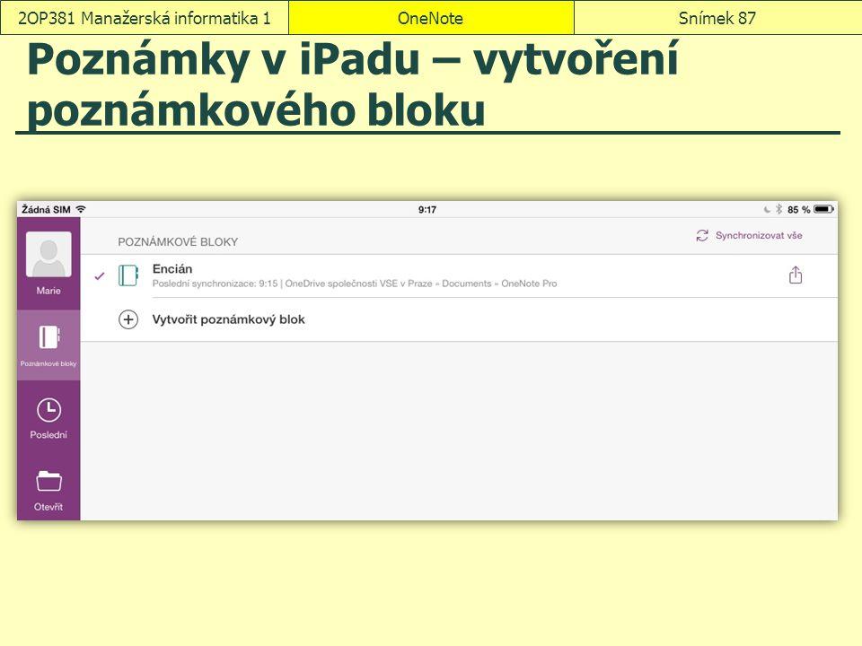 Poznámky v iPadu – vytvoření poznámkového bloku
