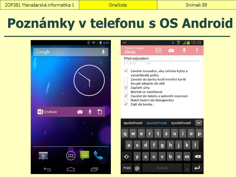 Poznámky v telefonu s OS Android