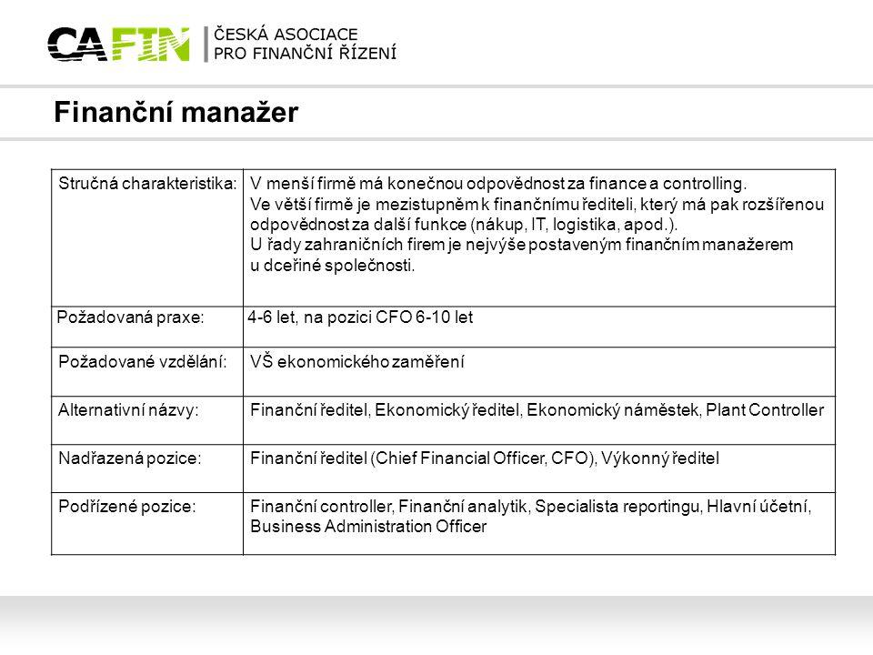 Finanční manažer Stručná charakteristika: