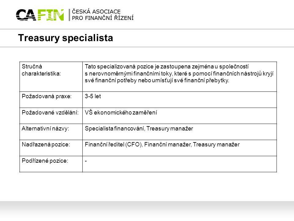 Treasury specialista Stručná charakteristika:
