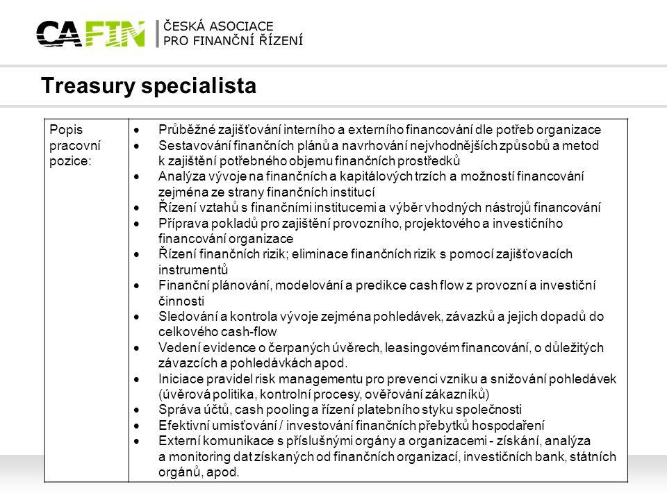 Treasury specialista Popis pracovní pozice:
