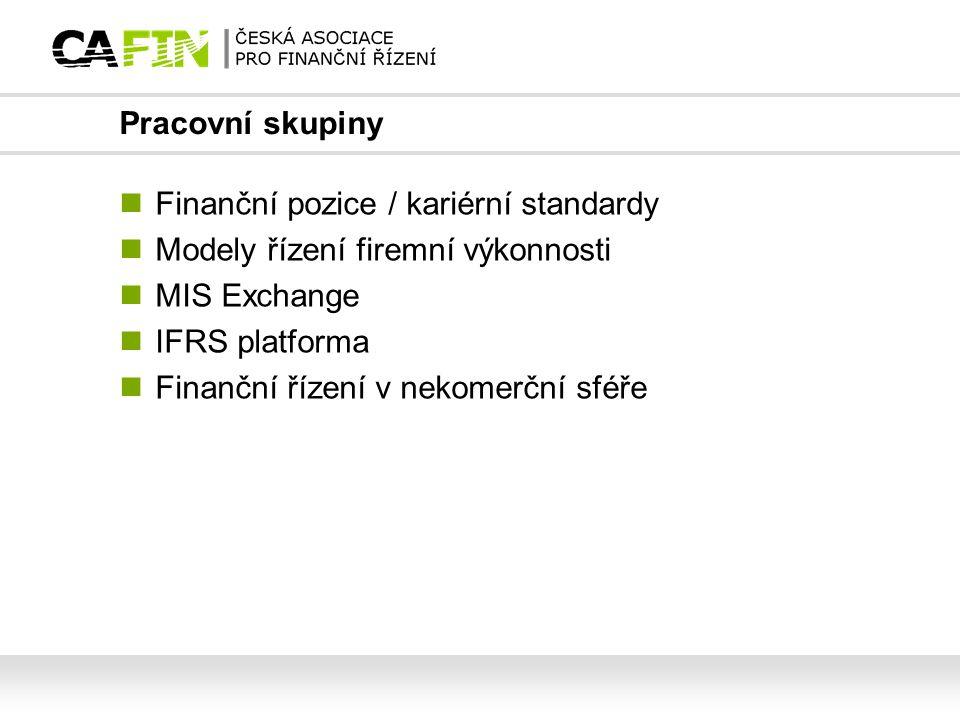 Pracovní skupiny Finanční pozice / kariérní standardy. Modely řízení firemní výkonnosti. MIS Exchange.