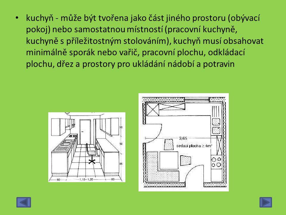 kuchyň - může být tvořena jako část jiného prostoru (obývací pokoj) nebo samostatnou místností (pracovní kuchyně, kuchyně s příležitostným stolováním), kuchyň musí obsahovat minimálně sporák nebo vařič, pracovní plochu, odkládací plochu, dřez a prostory pro ukládání nádobí a potravin