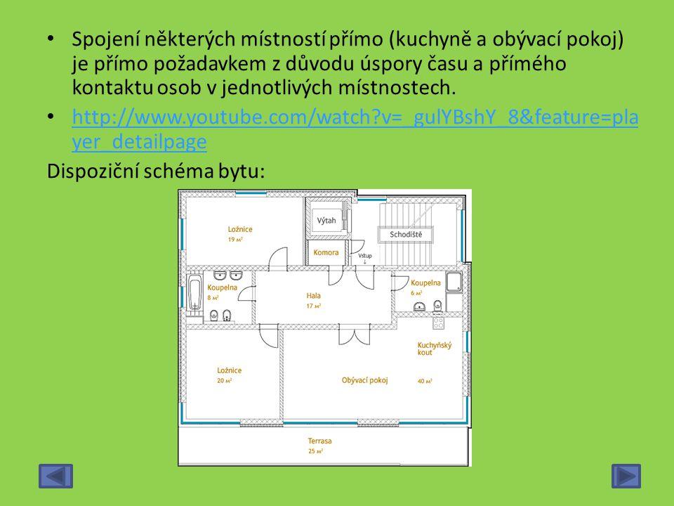 Spojení některých místností přímo (kuchyně a obývací pokoj) je přímo požadavkem z důvodu úspory času a přímého kontaktu osob v jednotlivých místnostech.