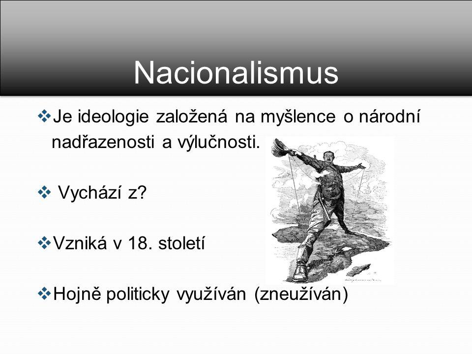 Nacionalismus Je ideologie založená na myšlence o národní