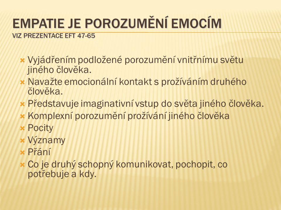 Empatie je porozumění emocím viz prezentace EFT 47-65