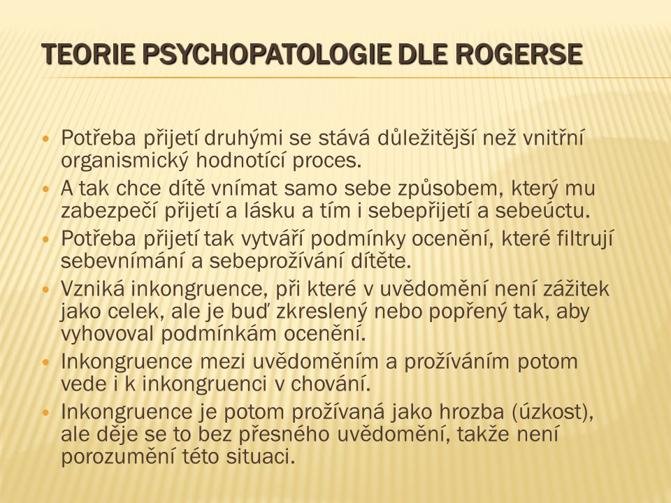 Teorie psychopatologie dle Rogerse