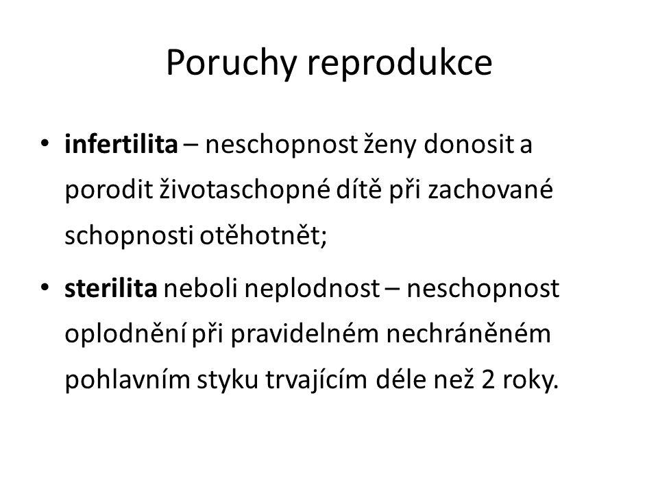 Poruchy reprodukce infertilita – neschopnost ženy donosit a porodit životaschopné dítě při zachované schopnosti otěhotnět;