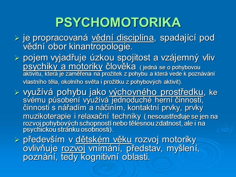 PSYCHOMOTORIKA je propracovaná vědní disciplína, spadající pod vědní obor kinantropologie.