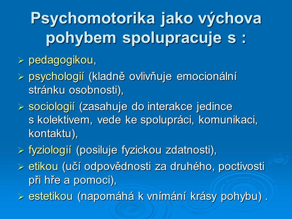 Psychomotorika jako výchova pohybem spolupracuje s :