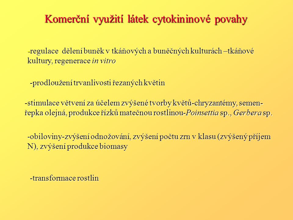 Komerční využití látek cytokininové povahy.