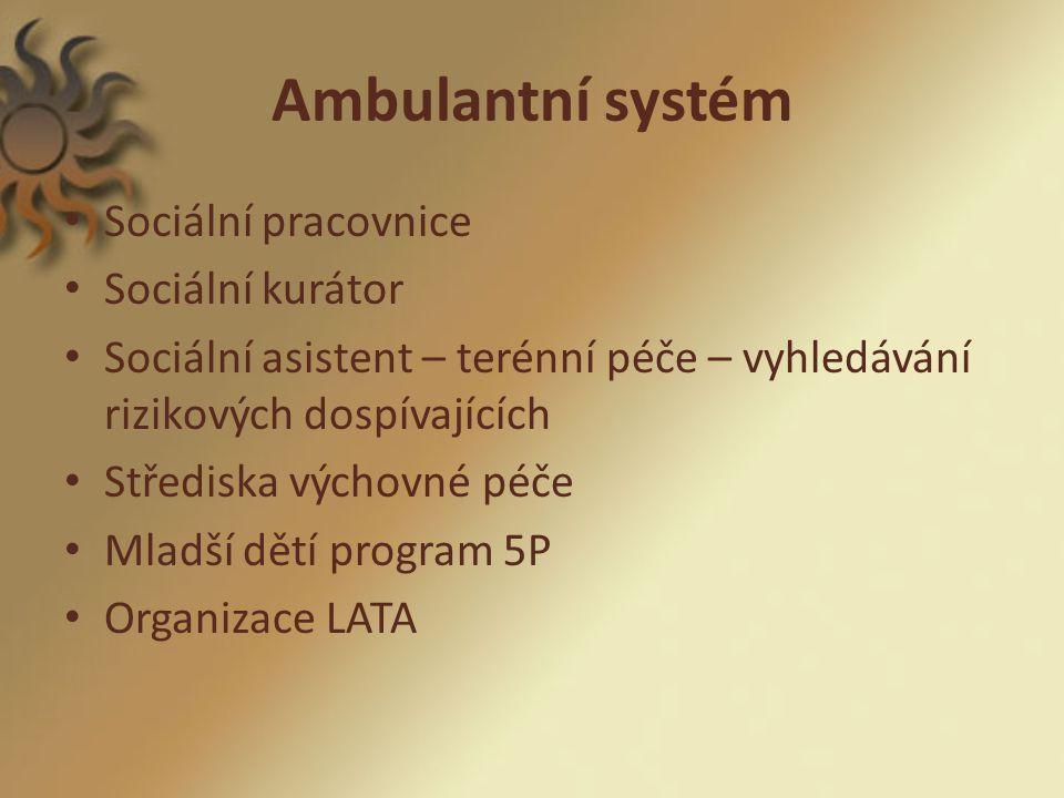 Ambulantní systém Sociální pracovnice Sociální kurátor