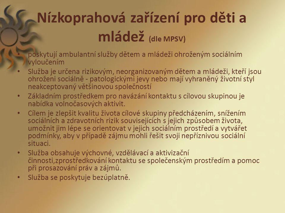 Nízkoprahová zařízení pro děti a mládež (dle MPSV)